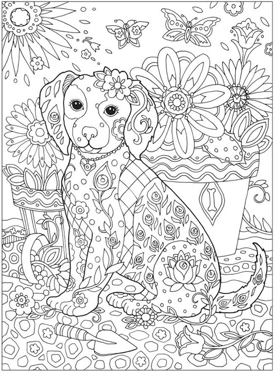 Dazzling Dogs Coloring Book by Marjorie Sarnat @ Dover Publications:
