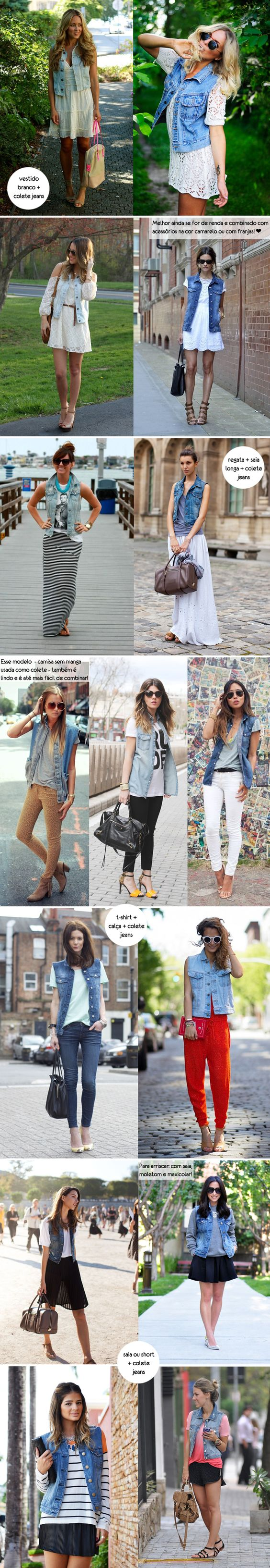 Inspiração como usar look colete jeans