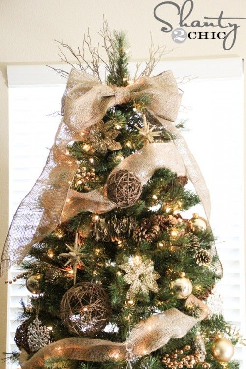 Awesome Diy Christmas Tree Topper Ideas Tutorials Diy Christmas Tree Topper Burlap Christmas Diy Christmas Tree