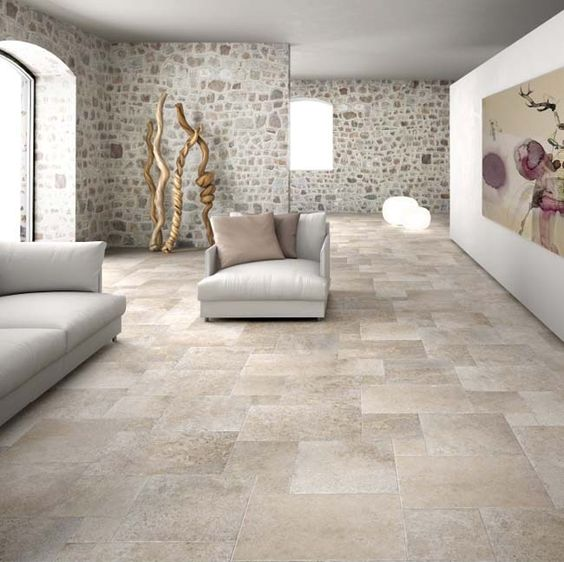 Tijdloze lichte kasteelvloer met verouderde tegel rand die past bij een modern en klassieker for Interieur moderne