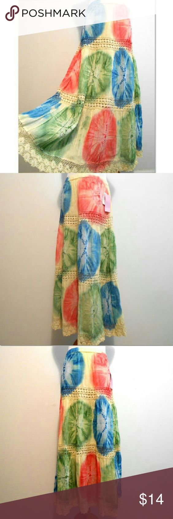 """Metro Wear Peasant Skirt Tiered Crinkle Cotton Waist: 34-42"""" Hip: 44"""" Length: 34"""" Great festival skirt. Lightweight,  gauzy crinkle cotton. 3 tiers with lace insets. Hand wash. Very good,  with tags condition. Metro Wear Skirts Maxi"""