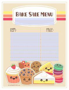 bake sale sign up sheet template