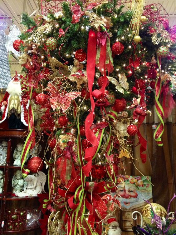 Upside Down Christmas Tree In Red And Gold With