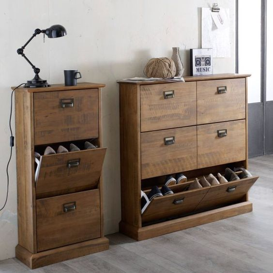 meuble range chaussures 3 abattants lindley. Black Bedroom Furniture Sets. Home Design Ideas