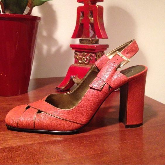 Slingback Sandals Orange leather uppers trimmed in copper. Man made. Barely worn. Nine West Shoes Sandals