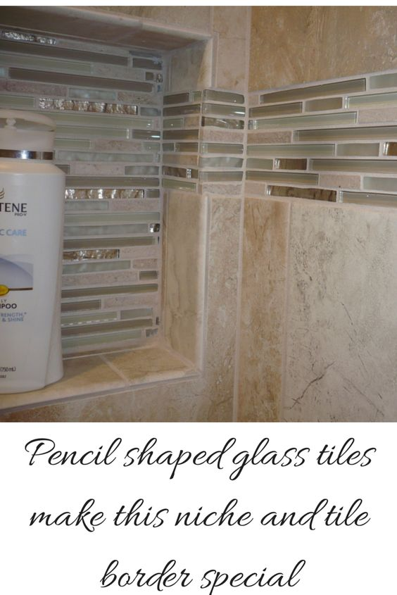 Recessed niche and tile border with cool pencil shaped for Glass block alternatives