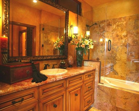Tuscan Style Bathroom Designs Extraordinary Tuscan Style Bathroom With Rustic Bathtub And Vanity Tuscan Inspiration Design