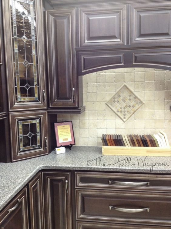 Espresso Stained Maple Cabinets with Khaki Glaze  Home  inside decor