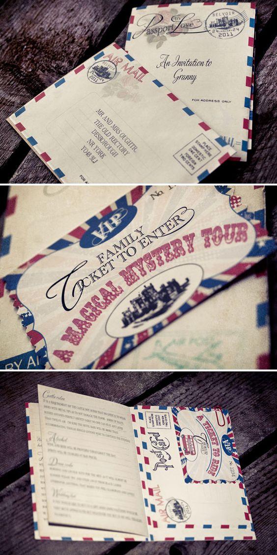 vintage wedding card design template%0A Vintage Wedding Stationery  Dottie Creations   Invitation design  Airmail  and Passport invitations
