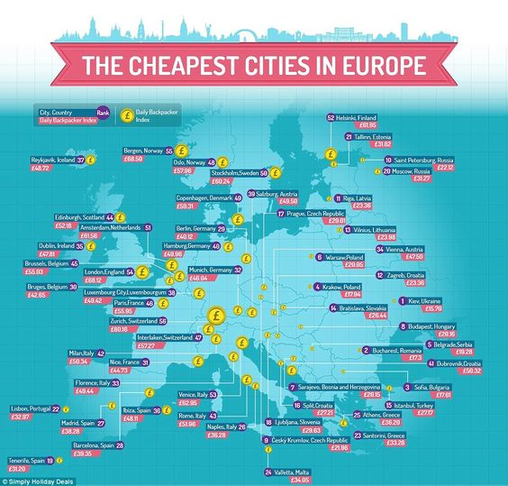 This map shows the average prices combined for taxis, hostels, food and entertainment around Europe