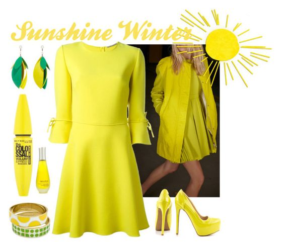 """Dress Sunshine in the winter outfit"" by fashionvivianguo ❤ liked on Polyvore featuring N°21, Ermanno Scervino, Qupid, Kate Spade, Proenza Schouler, Maybelline, Decléor, yellow, dress and coat"