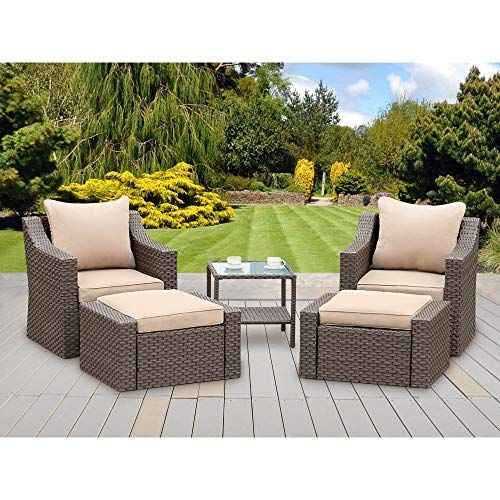 Stamo 5 Piece Outdoor Patio Furniture Sets With Ottomans All Weather Pe Rattan Wicker Conversation Set Patio Outdoor Patio Furniture Sets Patio Furniture Sets