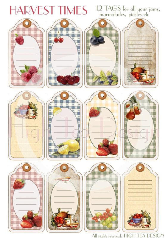 HARVEST TIME Set of 12 Vintage style TAGS for by HighTeaDesign, $4.00 vari tipi