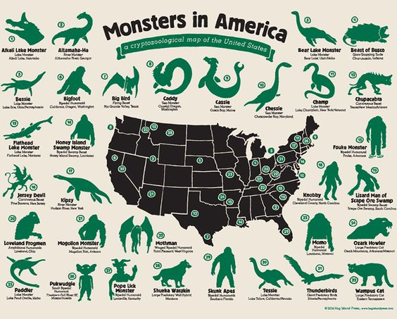 Monsters in America, a cryptozoological map of the United States that features all sorts of legendary creatures from across America.