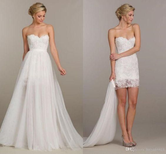 2016 Summer Holiday Convertible Short Beach Boho Party Wedding Dresses Two Pieces Detachable Overskirt Cheap Lace Wedding Gown Simple Classic Wedding Dresses Strapless A Line Wedding Dresses From Gaogao8899, $105.03| Dhgate.Com