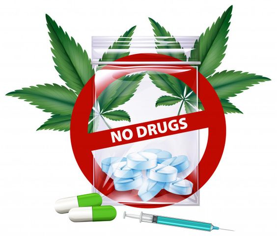 No drugs sign with marijuana leaves Premium Vector