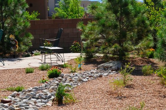A Desert Southwest Backyard With A Fake Dry Stream Bed And