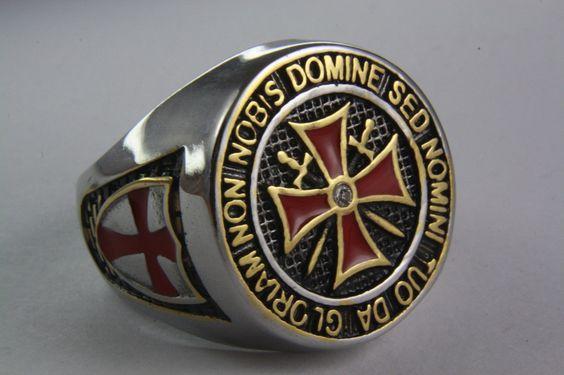 Templerorden Ring Siegelring. NICHT UNS O HERR SONDERN DEINEM NAMEN GIB EHRE. Schrift ist Gold Platet. der Ringkopf ist 25 mm groß.