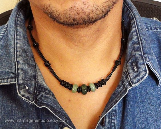 Black Leather Cord & Green Gemstone Mens Choker Necklace, Handcrafted Mens Jewelry