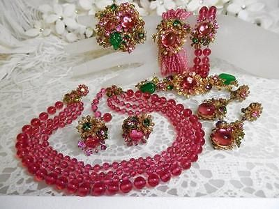 Incredible-Early-Miriam-Haskell-7pc-Pink-Glass-Floral-Grand-Parure