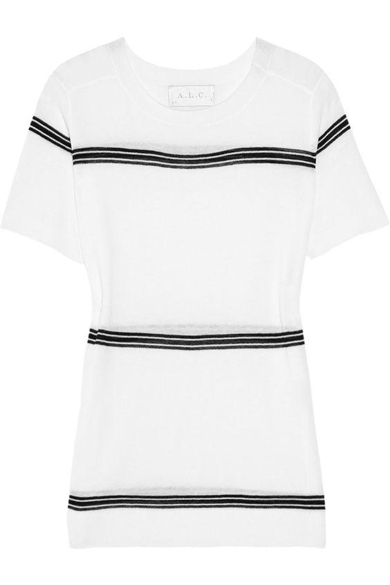 A.L.C.|Ellis striped fine-knit cotton top|NET-A-PORTER.COM