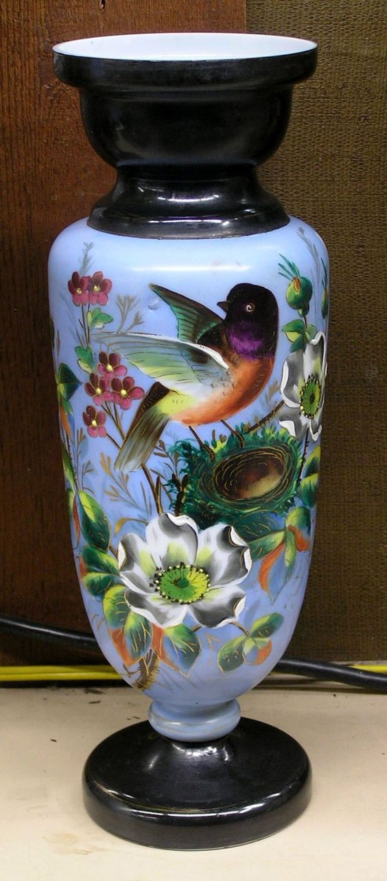 Bristol glass vase with bird perching on its nest, 14.5''h