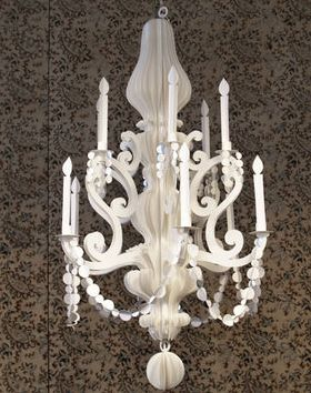 A chandelier crafted entirely from paper, designed by Jeffrey Rudell. Amazing!