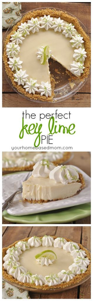 The PERFECT Key Lime Pie Recipe - This truly is the PERFECT Key Lime Pie.  It has just the right amount of lime goodness and the texture is smooth and creamy! #keylimepie #keylime #stpatricksdaydesserts #stpatricksday #pies #keylimepierecipe #theperfectkeylimepierecipe