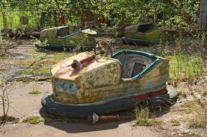 Abandoned car in amusement park in Pripyat, Chernobyl area