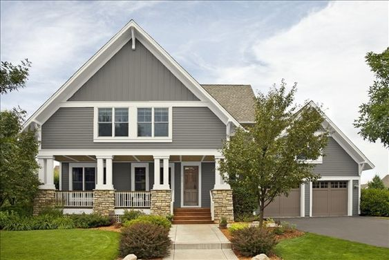 Exterior Paint Colors Chelsea Gray On Siding Dove White On Trim Fallen Timber On Garage And