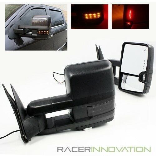 For 14 17 Silverado Power Heated Trailer Towing Mirrors Dark Smoke Lens Signal Racerinnovation Towing Mirrors Silverado Accessories Chevy Trucks