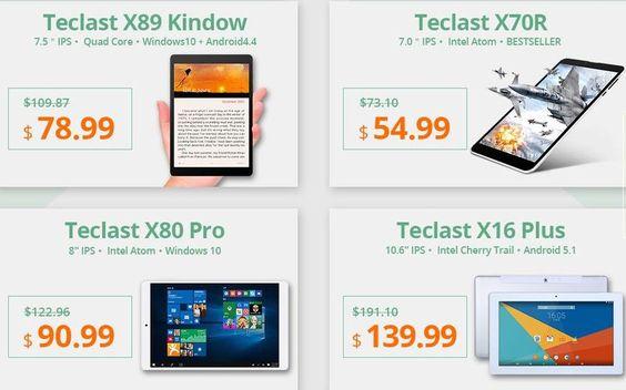 Excelente promoción en Tablets Teclast a precios de chollo. Desde la más económica Teclast X70 R por apenas $54.99 a la Teclast Tbook 11 por $185.99.