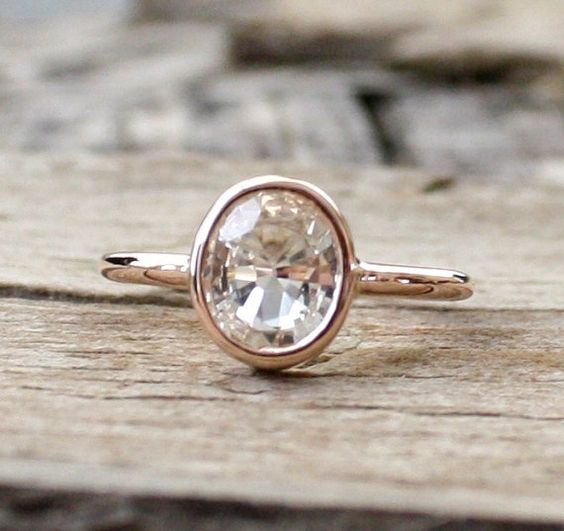 I think PERFECT EXCEPT for the white sapphire.. would want pink-tinted. I know it's 'see through' not sure if a different cut would be better? Like it tho. Sophisticated 14K rose gold ring featuring an oval cut natural white sapphire measuring 6.9 x 8.3 mm and weighing approximately 1.70 cts. (VS)  Lovely