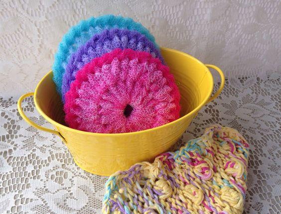 Nylon Pot Scrubber/Knit Dish cloth 3 Large by AllSylviasCreations #Etsy #EtsyRMP