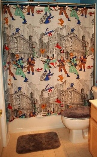 Curtains Ideas curtains made from bed sheets : Shower Curtain Made With Vintage Ghostbusters Bed Sheet ...