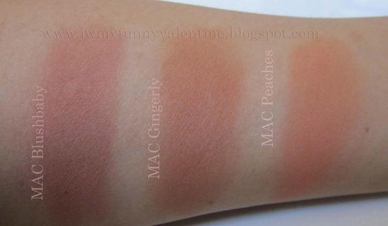 MAC Blushbaby, MAC Gingerly, MAC Peaches