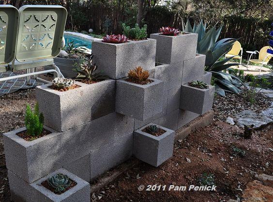 diy: cinder block planters...
