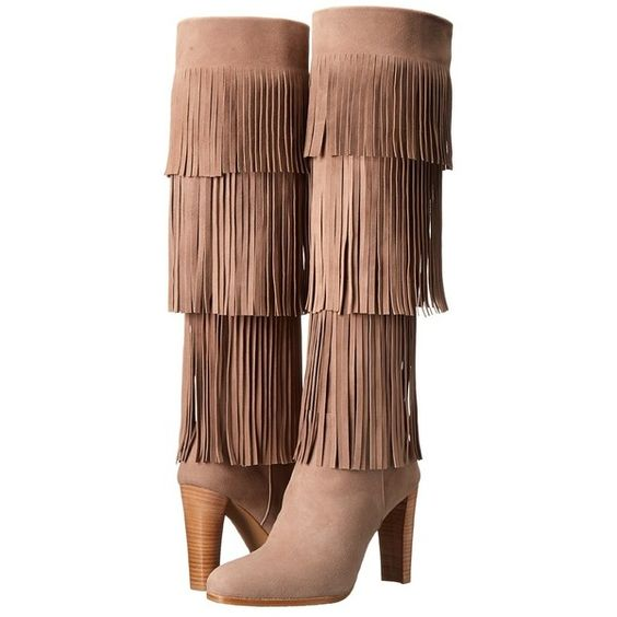 Stuart Weitzman Fringie Women's Zip Boots (1,105 CAD) ❤ liked on Polyvore featuring shoes, boots, over-the-knee boots, boho boots, boho shoes, over knee boots, fringe boots and above-knee boots