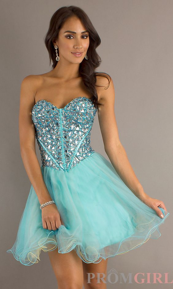 short blue stoned strapless prom dresses  Blue Strapless Babydoll ...