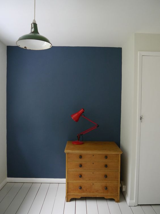 Stiffkey blue, strong white walls. Cornforth white floor. Farrow & Ball. J's room.: