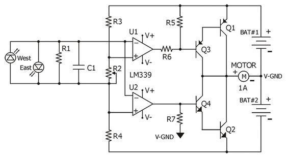 solar tracker lm339 schematic