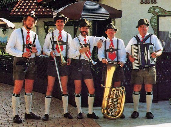German folk wear - the boys in the band in leiderhosen