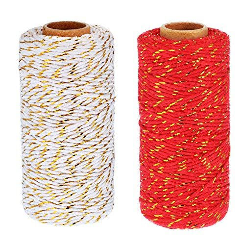 Red//Green 656 Feet Totally Pangda 2 Rolls Christmas Twine 2 mm Gift Wrapping Twine Cotton Bakers Twine with Gold Wire for Christmas DIY Party Supplies