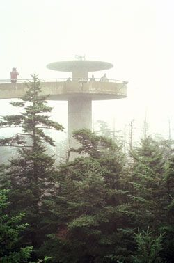At an elevation of 6,643 feet, the observation tower at Clingmans Dome stands on the Blue Ridge parkway's highest peak.