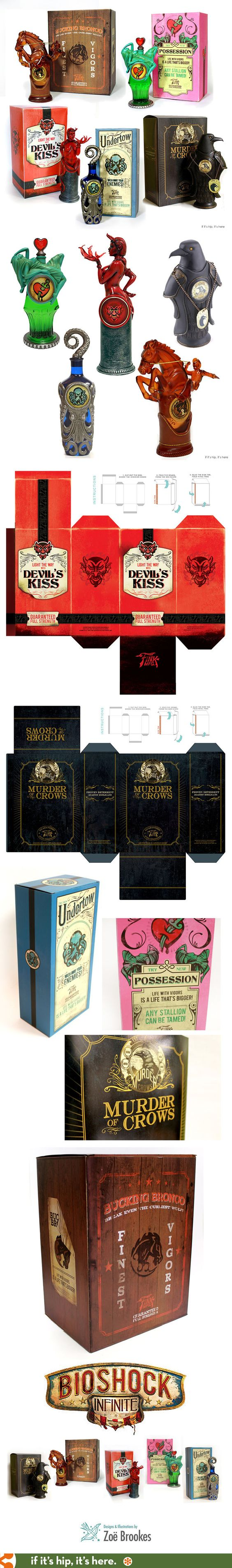 The beautiful packaging and bottle designs for the Replica Vigor Bottles inspired by Bioshock Infinite.
