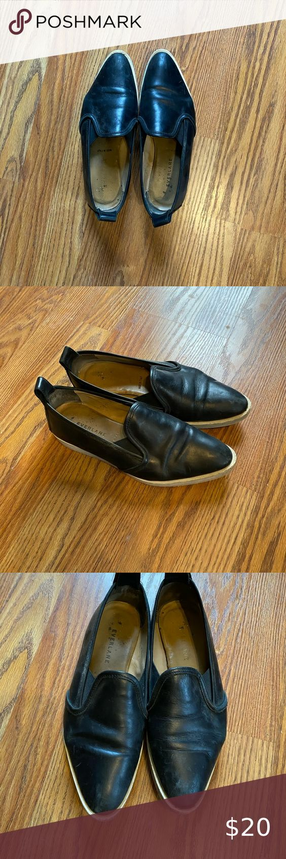 Black Everlane Leather Street Shoe Cute Versatile Black Slip On Shoe From Everlane Used With Visible Signs O Everlane Leather Street Shoes Black Slip On Shoes [ 1692 x 564 Pixel ]