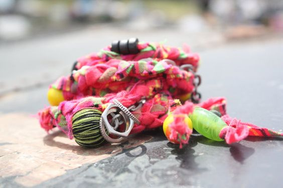 Tressy Wrap x5 Bracelet Pink and Green Braided by dawnellesarlo, $34.00