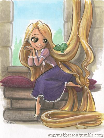 Rapunzel and Pascal by Amy Mebberson (love how he's sleeping in her hair!)