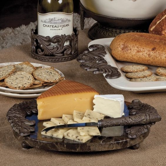 What a beautiful way to serve simple cheese and crackers...