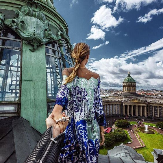 Murad Osmann: #SaintPetersburg with Nataly Osmann. For those who are visiting #Russia